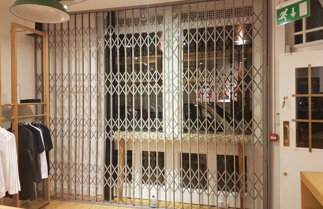 RSG1000 security window grilles fitted internally to a clothing shop in Redchurch St, London.