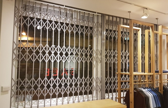 RSG1000 security grilles fitted to a clothing shop in Redchurch St, London.