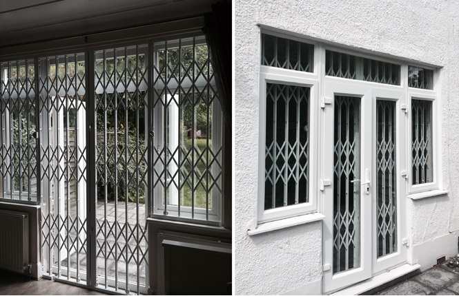 RSG1000 retractable security grilles securing a residence in Wallington.