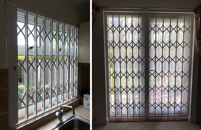 RSG1200 LPS1175 SR1 collapsible security grilles fitted to a residential flat in Edgware.