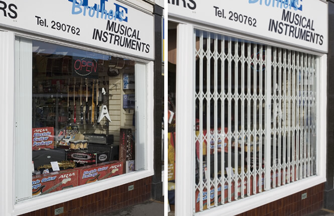 RSG1200 LPS1175 collapsible grilles securing guitar shop front in Derbyshire.
