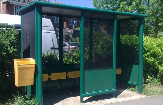RSG2200 security shields fitted to a bus shelter in London.