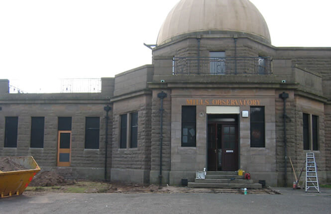 RSG2200 security shields on the front of Mills Observatory in Scotland.