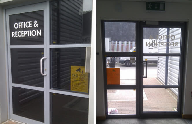 RSG2400 security screens on commercial entrance.