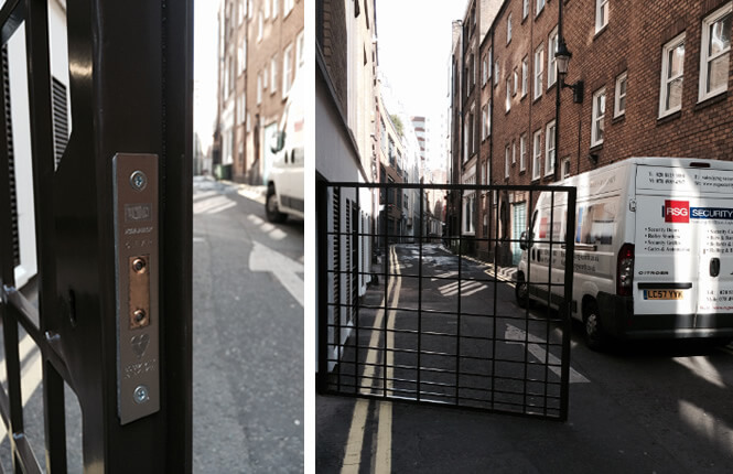 RSG3000 commercial security gates in Soho, Central London.