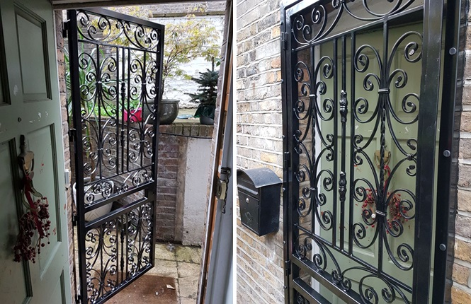 RSG3000 decorative security door gate fitted to the entrance of family home in Sutton.