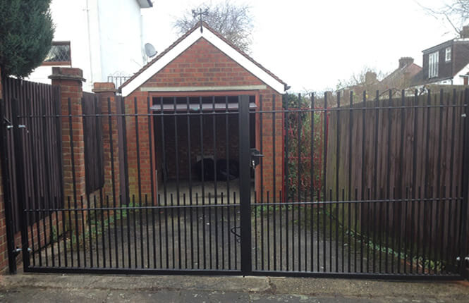 RSG3200 security gates restricting access to a garage in Wembley.