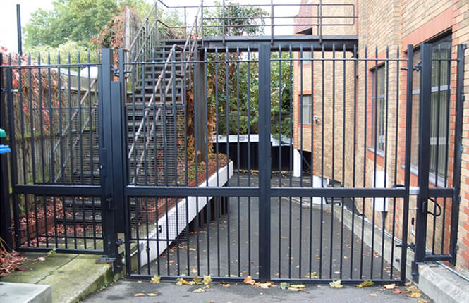 RSG3200 security gate restricting access on a commercial building in Hackney.