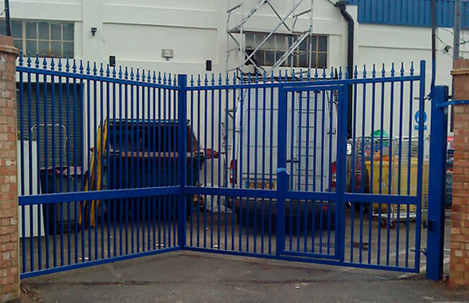RSG3200 security gates at the entrance of an industrial unit in South London.