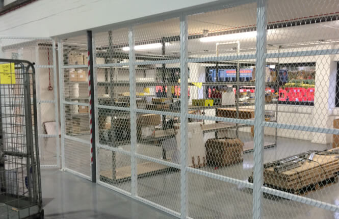 RSG4000 security cages securing equipments in commercial workshop in North London.