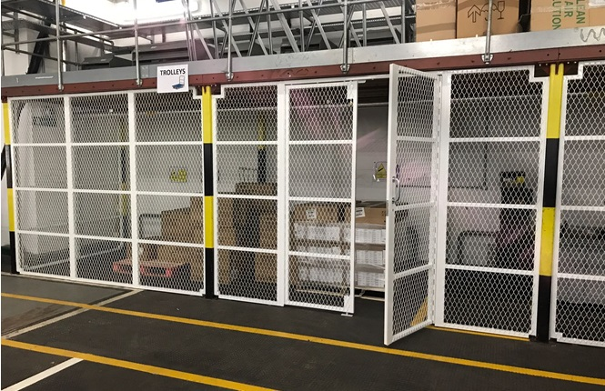 RSG4000 security enclosures creating a security area within warehouse; fitted in Central London.