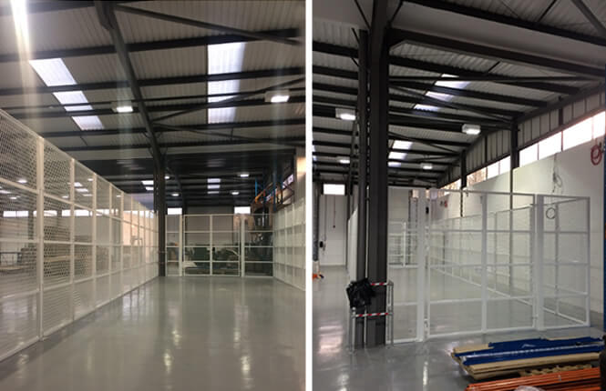 RSG4000 security enclosures on industrial warehouse in Surrey.