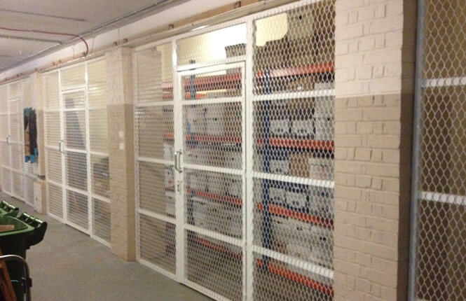 RSG4000 mesh security enclosures on storage units in South London.