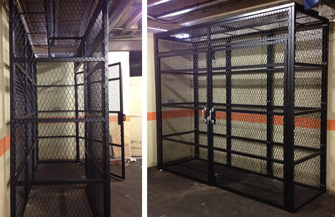 RSG4000 security cages on gas storage units in commercial estate in Wimbledon.