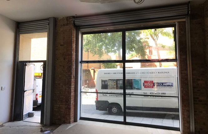 RSG5000 commercial shutters installed to office fronts in Central London.