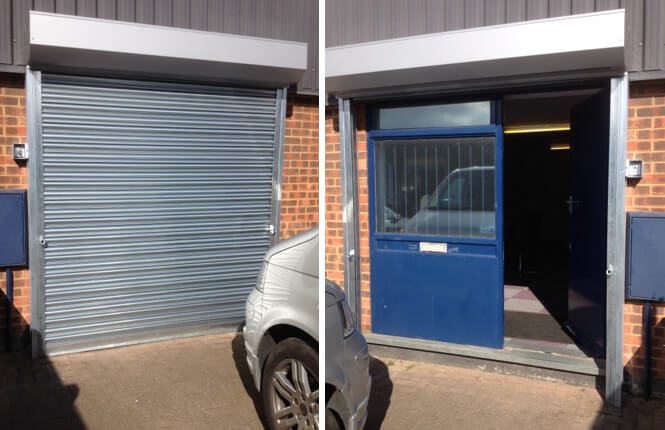 RSG5000 electric industrial shutter fitted externally on a factory unit in South London.
