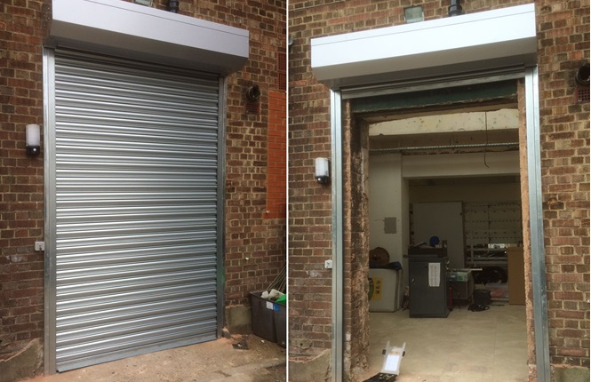 RSG5000 galvanised commercial security shutter fitted on the rear of commercial shops in Holloway, North London.