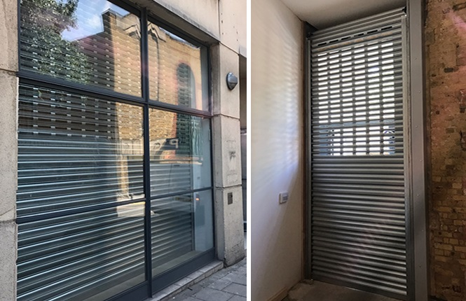 RSG5000 commercial roller shutters providing security to office fronts in Central London.