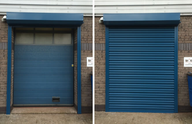RSG5000 industrial roller shutter securing the rear of an industrial store in Wembley.