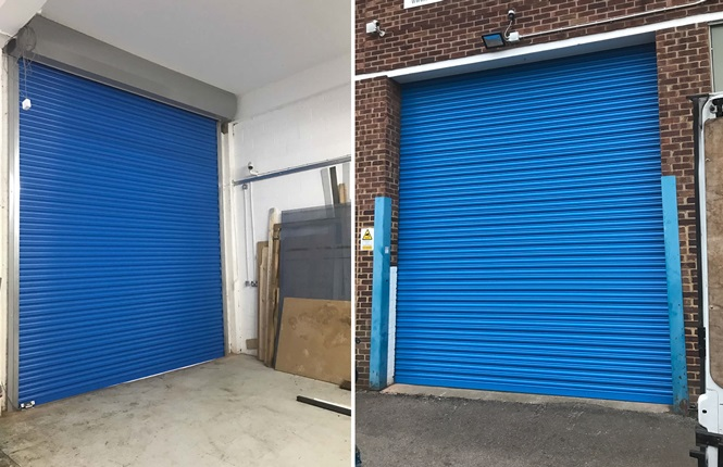 RSG5000 solid electric industrial security shutter installed externally to an industrial unit in Morden.