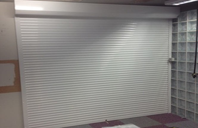 RSG5200 security roller shutter fitted to an office of a commercial centre in Essex.
