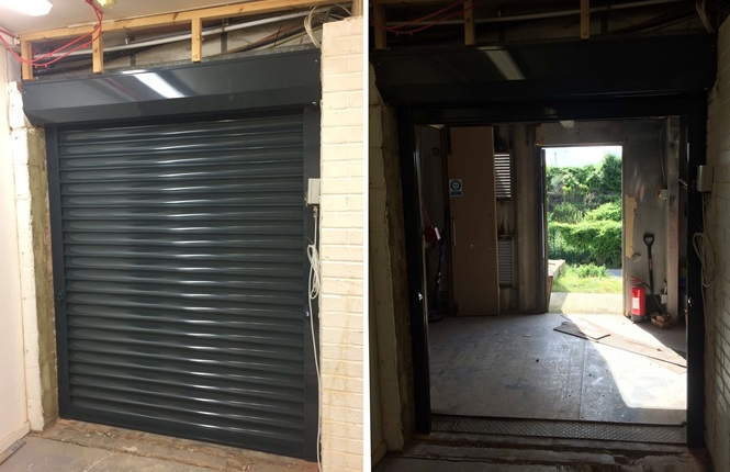 RSG5200 commercial roller shutter securing a retail warehouse in Rainham, Essex.