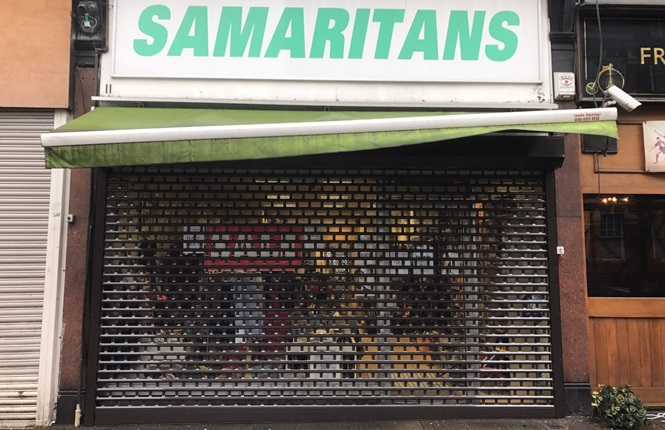 RSG5600 shop front roller shutter providing security to London British Charity.