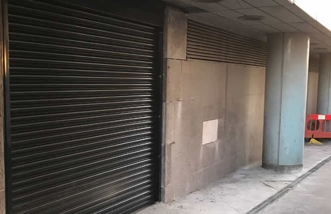 RSG5700 2Hour fire rated security shutter on the bin store of a commercial car park in Croydon.