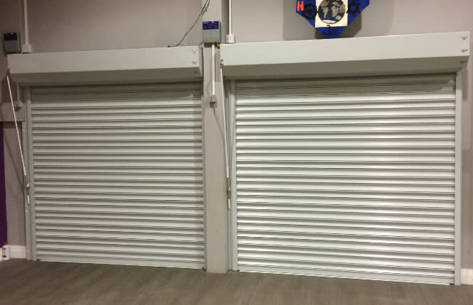 RSG5700 fire rated roller shutters, in closed position, fitted in Southwark Primary School.