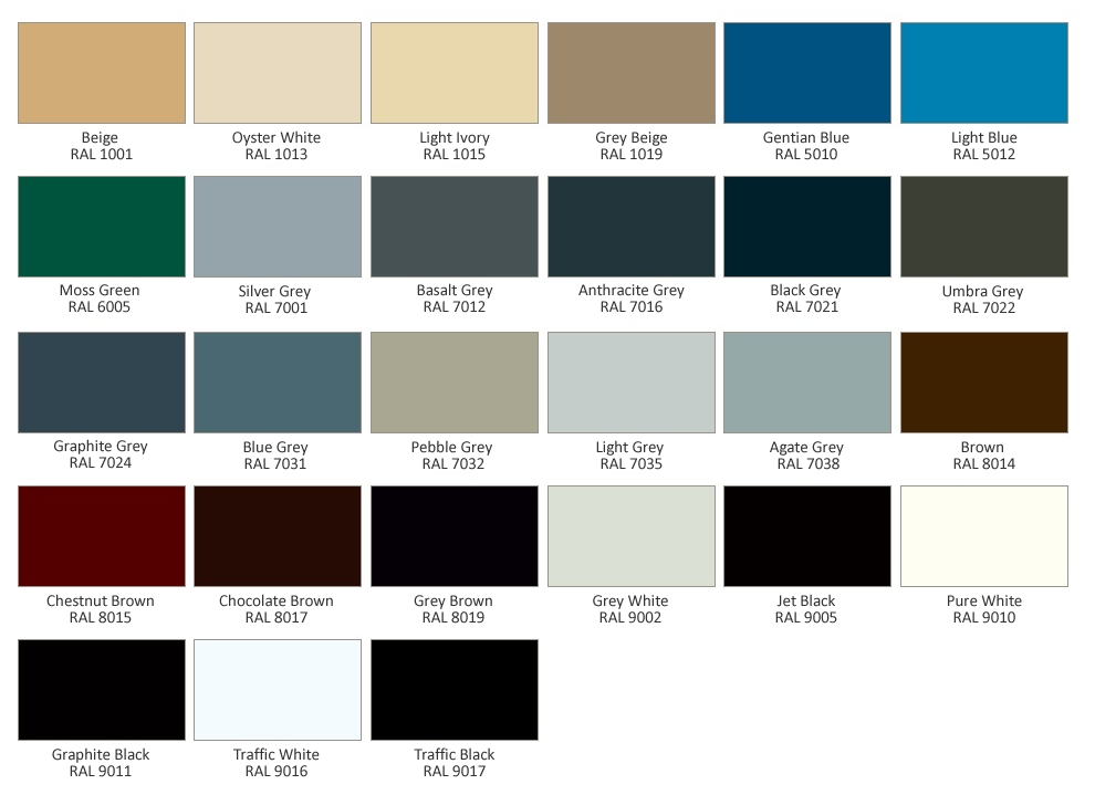 Our RSG5700 Fire Shutter Powder Coating Colour Chart