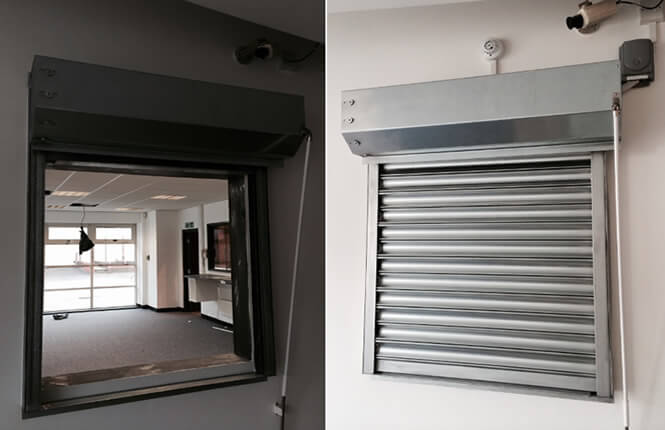 RSG5700 galvanised steel fire rated roller shutter, installed on a kitchen bar of a restaurant.