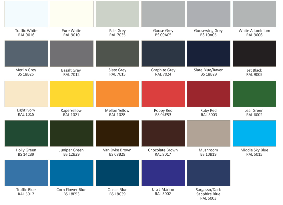 Our Doors Powder Coating Colour Chart