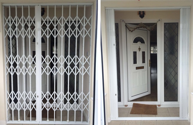 RSG1000 retractable security grilles fitted to a domestic property in Hounslow.