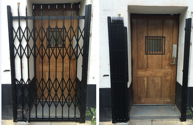 RSG1000 retractable security door grilles fitted to a residential property in Merton.