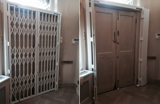 RSG1000 security grille with hook locks and swivel fitted to a residential property in Kensington and Chelsea of London City.