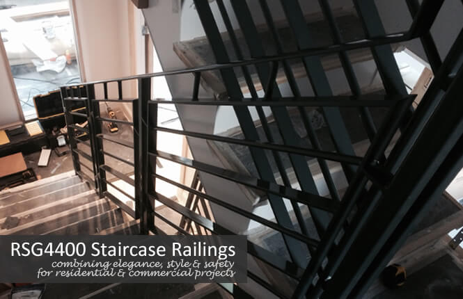 RSG4400 staircase railings on commercial building.