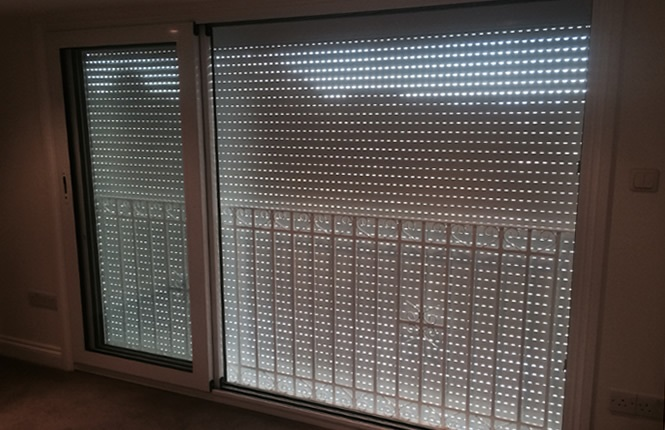 RSG5300 balcony shutter with vented laths opened for fresh air.