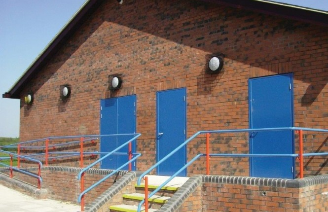 RSG8000 steel doors in single and double combination securing a school project in Englands.