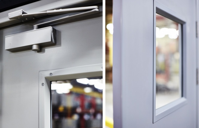 Our RSG8000 entry doors showcasing the quality of hardware, vision panels & powder coating finish.