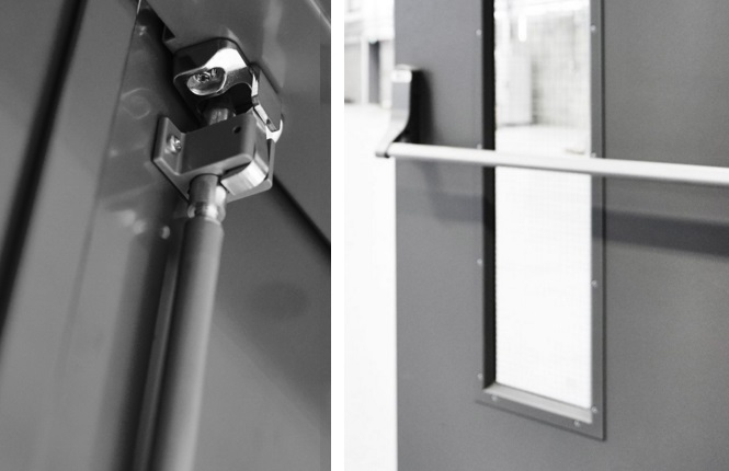 RSG8100 quality security doors with panic hardware and vision panels.