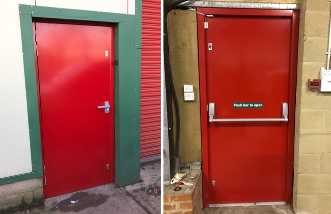 RSG8100 fire escape security door installed on a retail warehouse in Romsey, Hampshire.