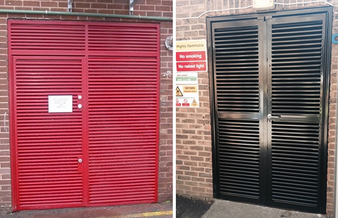 RSG8200 louvre doors securing industrial plant's rooms in Mitcham.