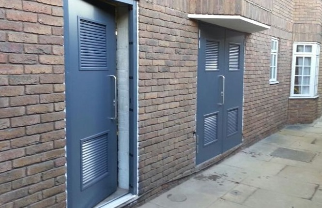 RSG8200 louvre doors providing airflow to residential boiler & plant rooms.