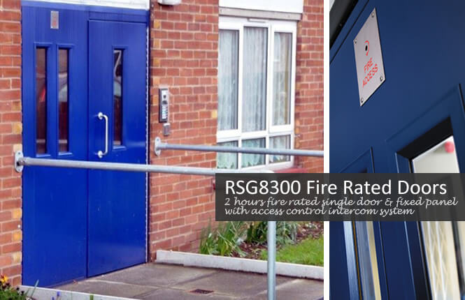 A combined fire rated and access control RSG8300 security door on a communal residential entrance in South London.