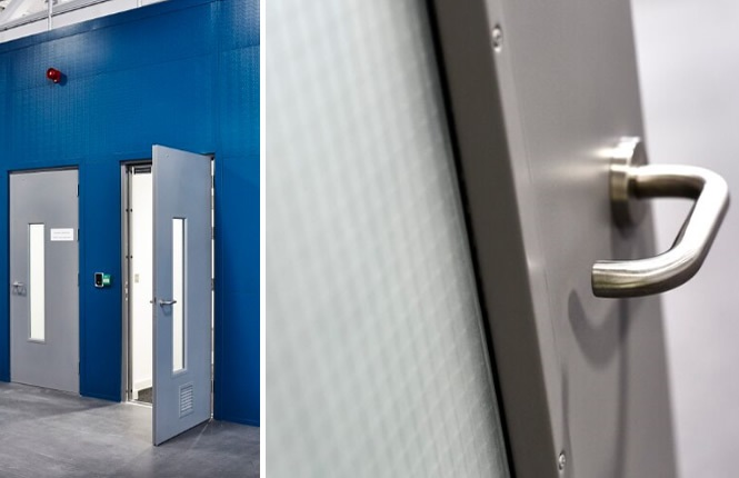 RSG8300 access control doors in a production outlet in London.