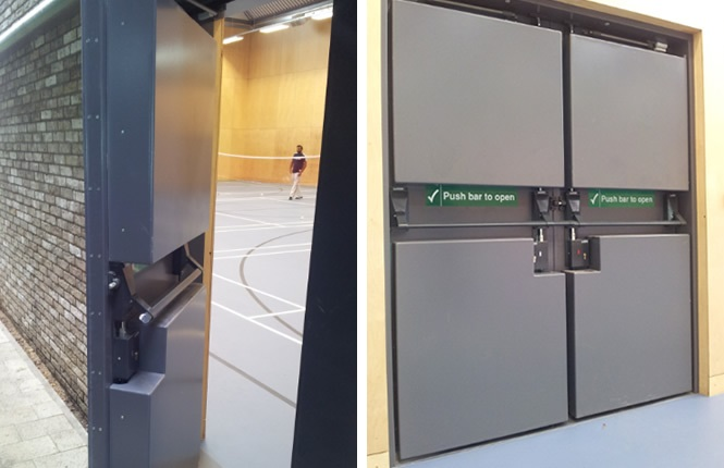 RSG8400 legislation compliant fire exit doors on a sports hall in UK.