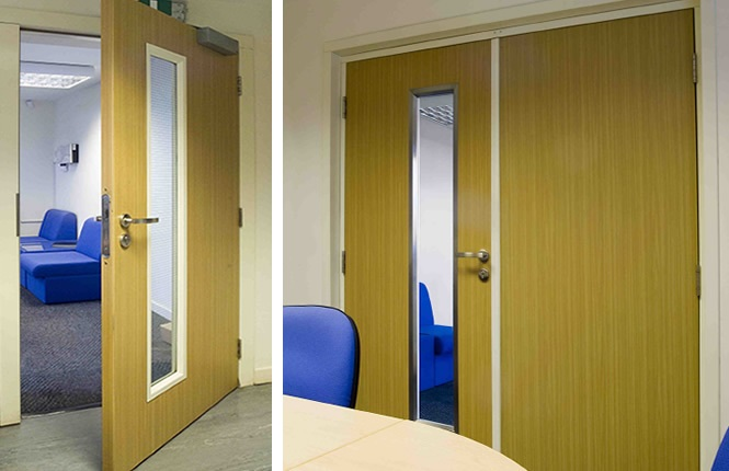 RSG8600 internal commercial security doors, steel core doors with timber lining.