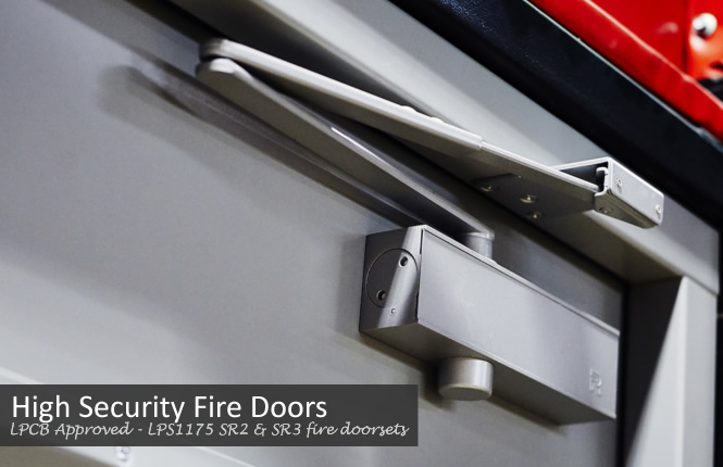 LPCB Approved - LPS1175 SR2 & SR3 fire rated high security doorsets.